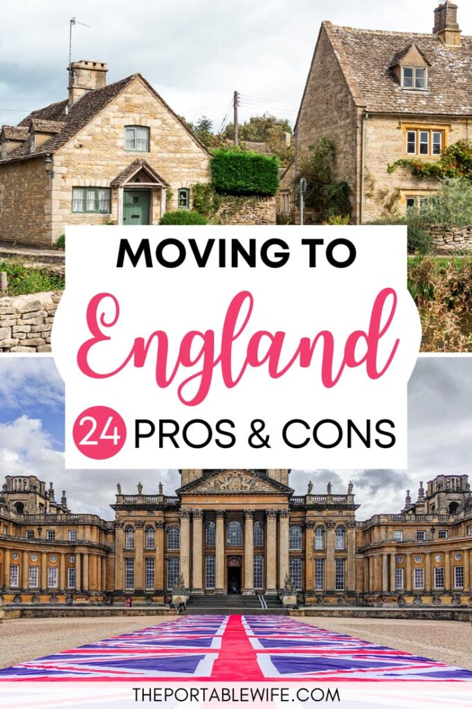 Moving to England Pros and Cons - Cotswolds cottages above Blenheim Palace facade with British flag walkway