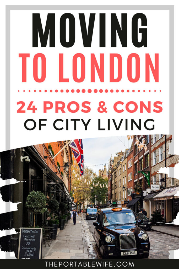 Living in London: pros and cons of city living - black cab on street with UK and French flags hanging down