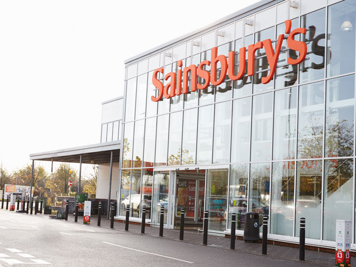 Front glass exterior of Sainsbury's chain of popular London grocery stores