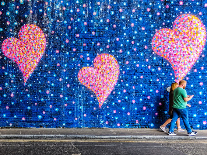 Heart mural outside of Borough Market London