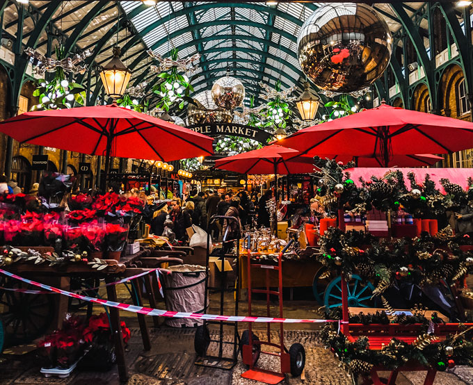 Covent Garden London at Christmas time