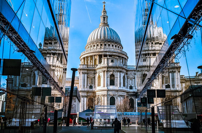 London St. Paul's Cathedral reflected in One New Change glass, a famous Instagram spot in Europe