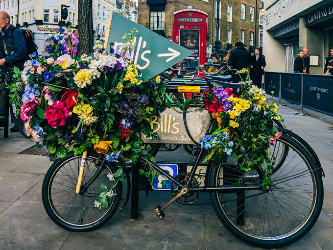 Floral bike outside Neal's Yard London