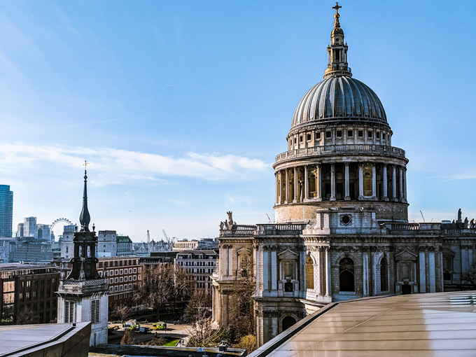 View of St. Paul's Cathedral and London skyline from One New Change