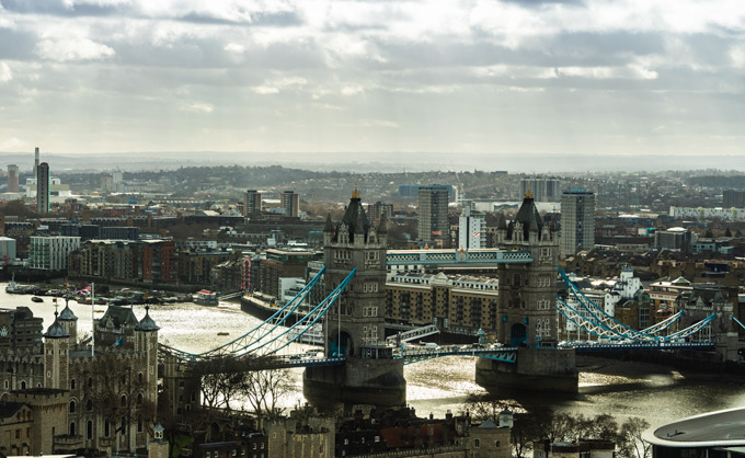 Tower of London and Tower Bridge aerial view
