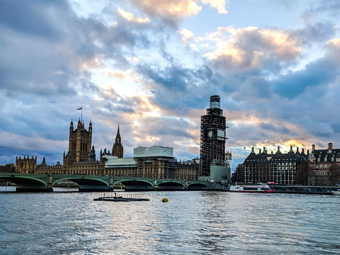 View of Westminster and Big Ben from across the Thames