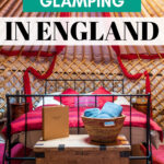 Where to go glamping in England - yurt interior with bed and chest