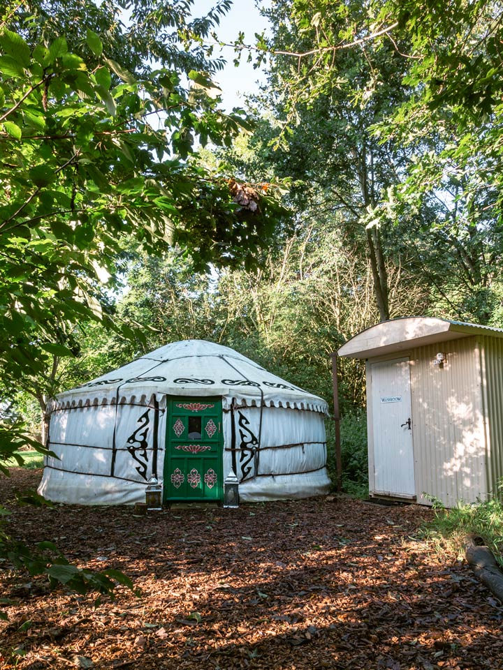 Suffolk glamping yurt and washroom in forest