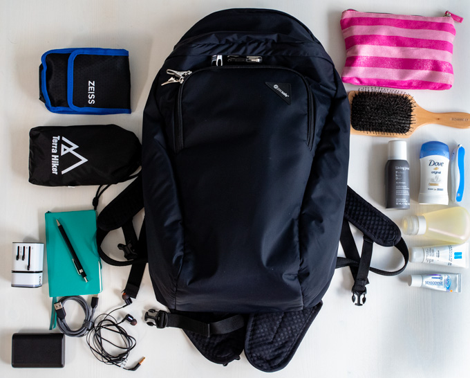 All the items that go into my minimalist travel backpack