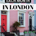 Monthly expenses in London: what to budget each month - pink and blue row houses
