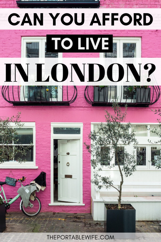 """Text overlay - """"Can you afford the cost of living in London?"""" - pink mews house with white door and bike"""