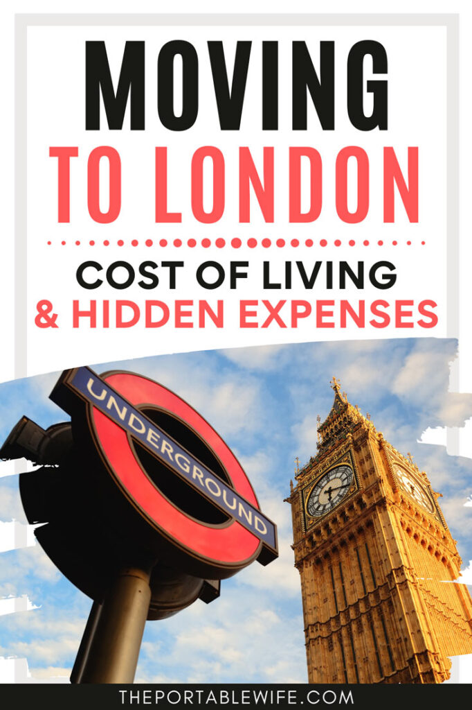 """London Underground sign and Big Ben, with text overlay - """"Moving to London Cost of Living & Hidden Expenses""""."""