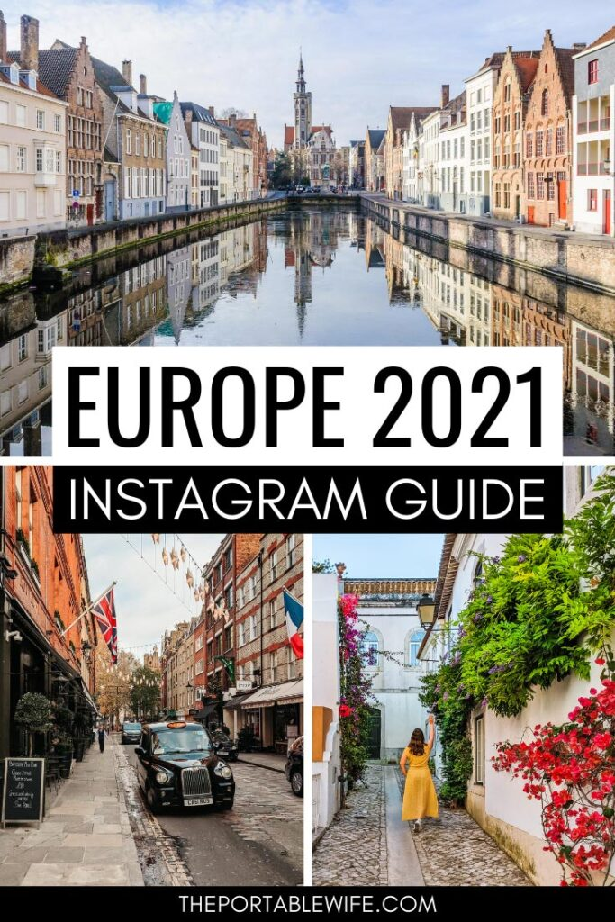 Europe 2021 Instagram Guide - collage of Bruges canal, London black cab, and girl in yellow dress on street