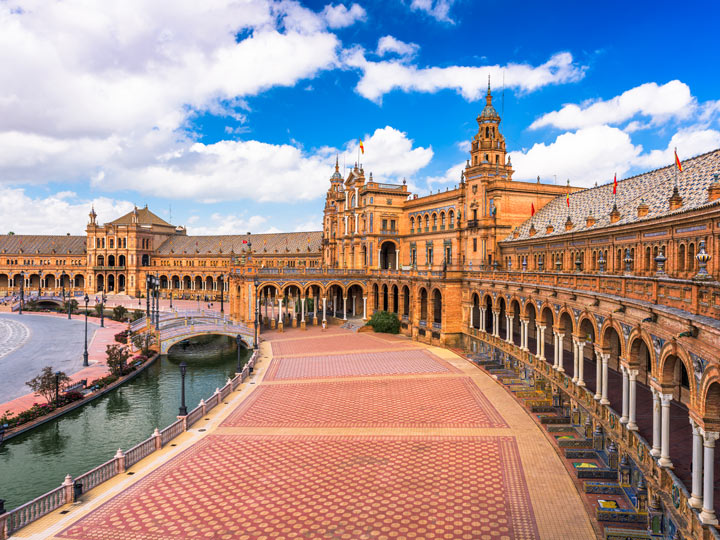 View of Plaza de Espana walkway and porticos in Seville