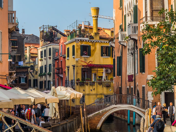 Colorful houses on canal in Venice
