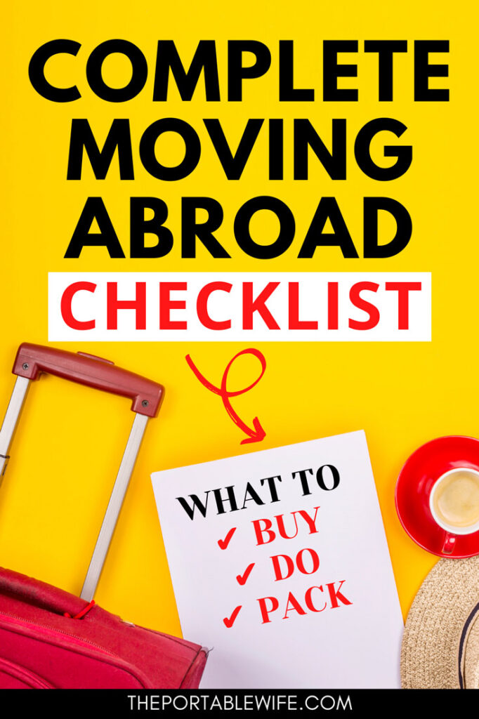 Complete moving abroad checklist: what to buy, do, pack - red suitcase and coffee cup flatlay