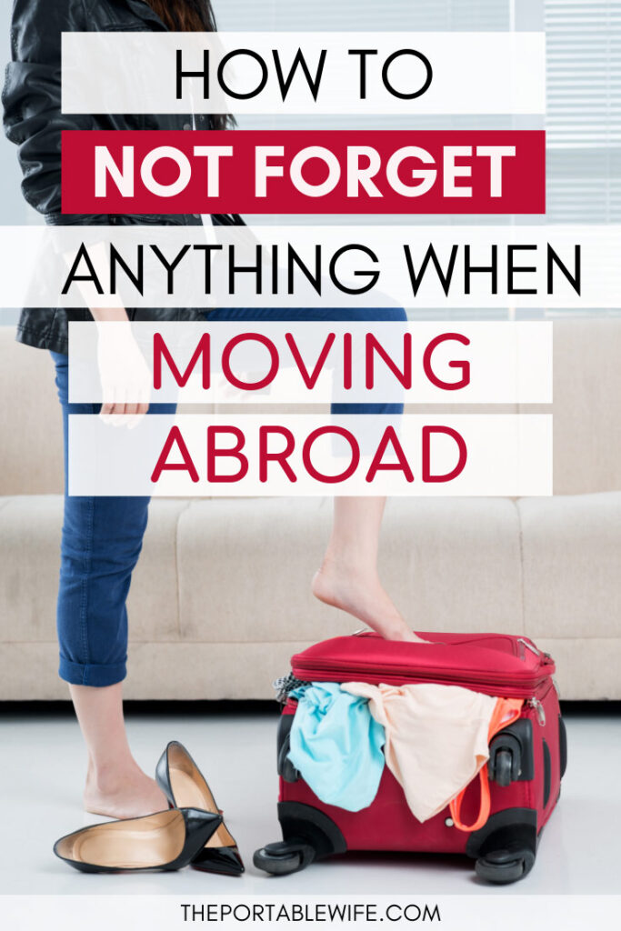 How to not forget anything when moving abroad - girl stepping on red suitcase