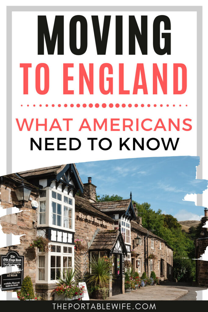 "Facade of stone British pub, with text overlay - ""Moving to England: What Americans Need to Know""."