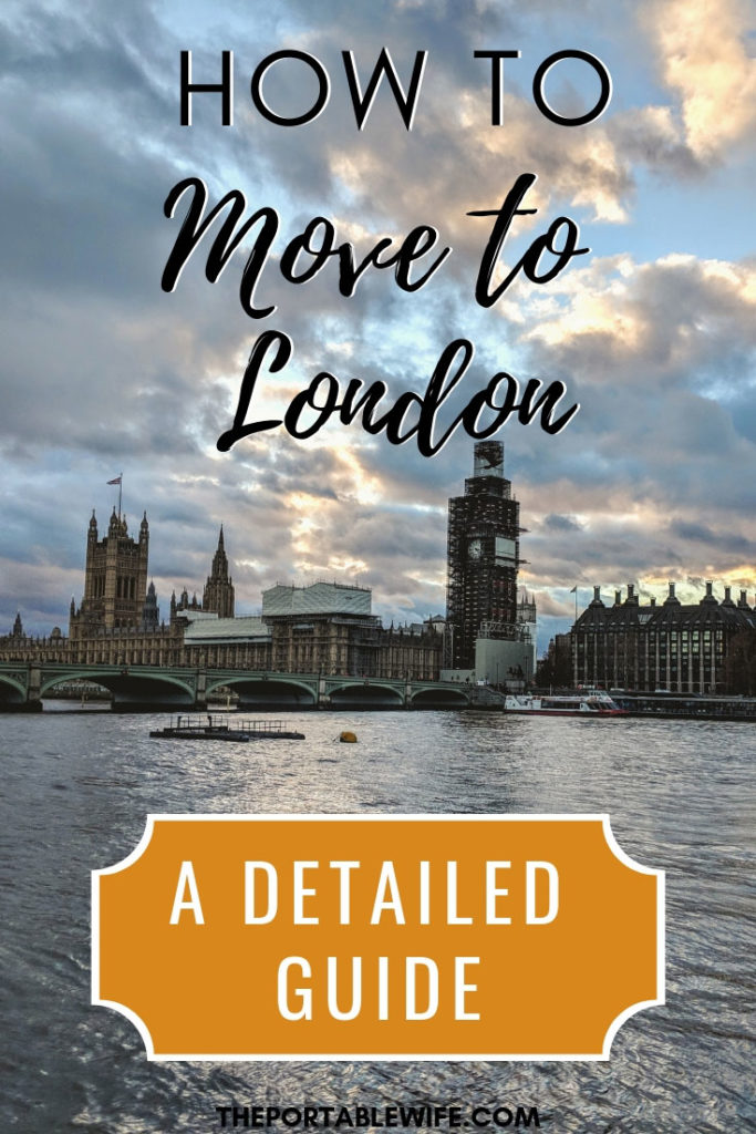 """View of Westminster Abbey from across river, with text overlay - """"How to move to London: a detailed guide""""."""