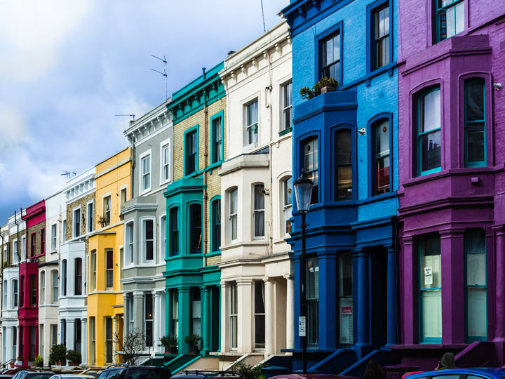Colorful row homes in Notting Hill London