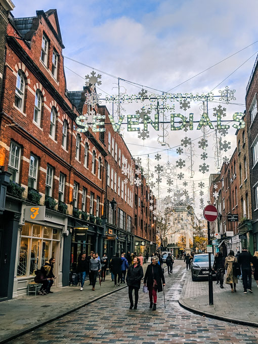 London Seven Dials at Christmas