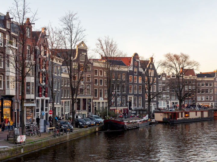 Sunset view of Amsterdam facades along canal