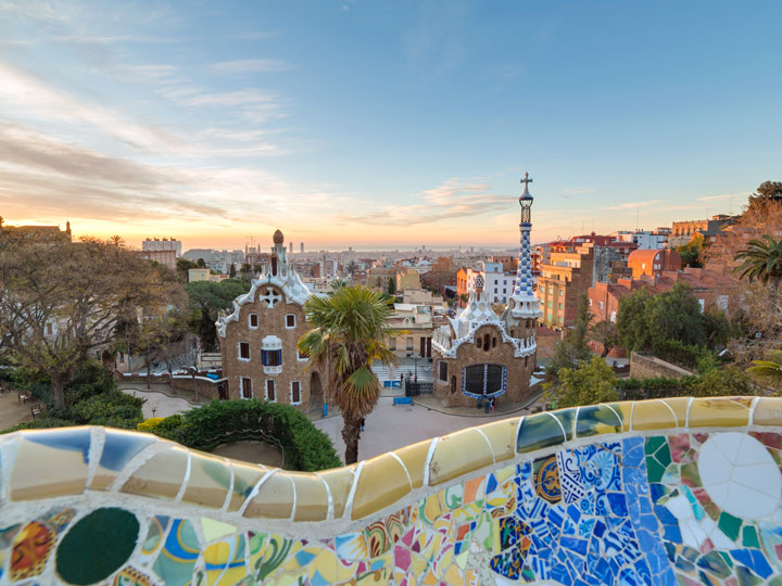 Sunrise view over Barcelona's Parc Guell