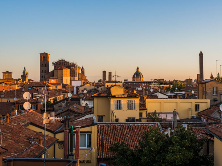 Sunrise view over Bologna rooftops and skyline
