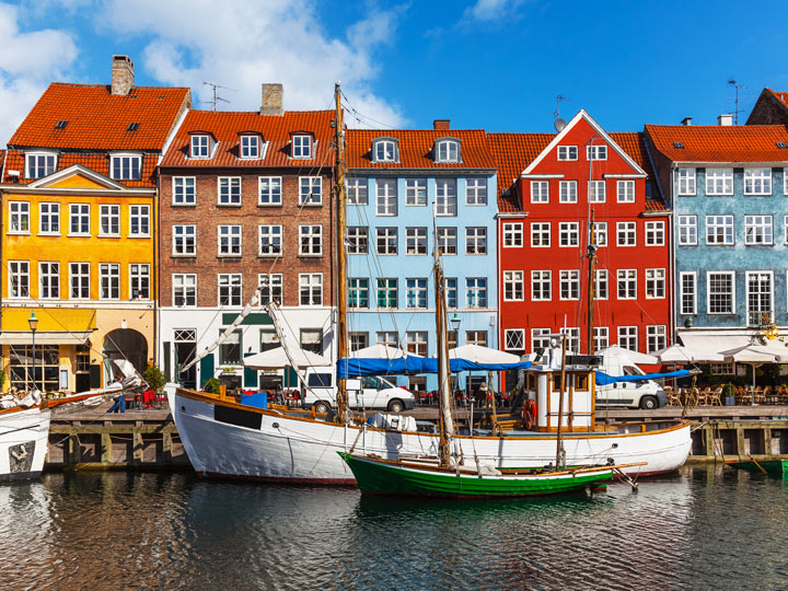 Colorful buildings behind wharf in Nyhavn district