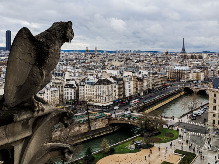 View of Paris from top of Notre Dame, with gargoyle in foreground