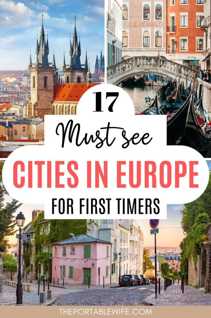 "Collage of Europe architecture, with text overlay - ""23 must see cities in Europe for first time"""