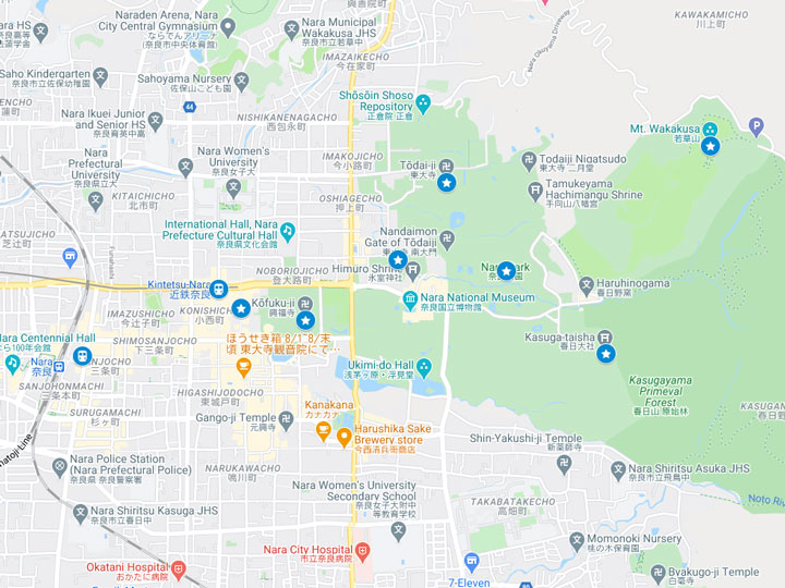 Google Maps snapshot of Nara day trip itinerary map