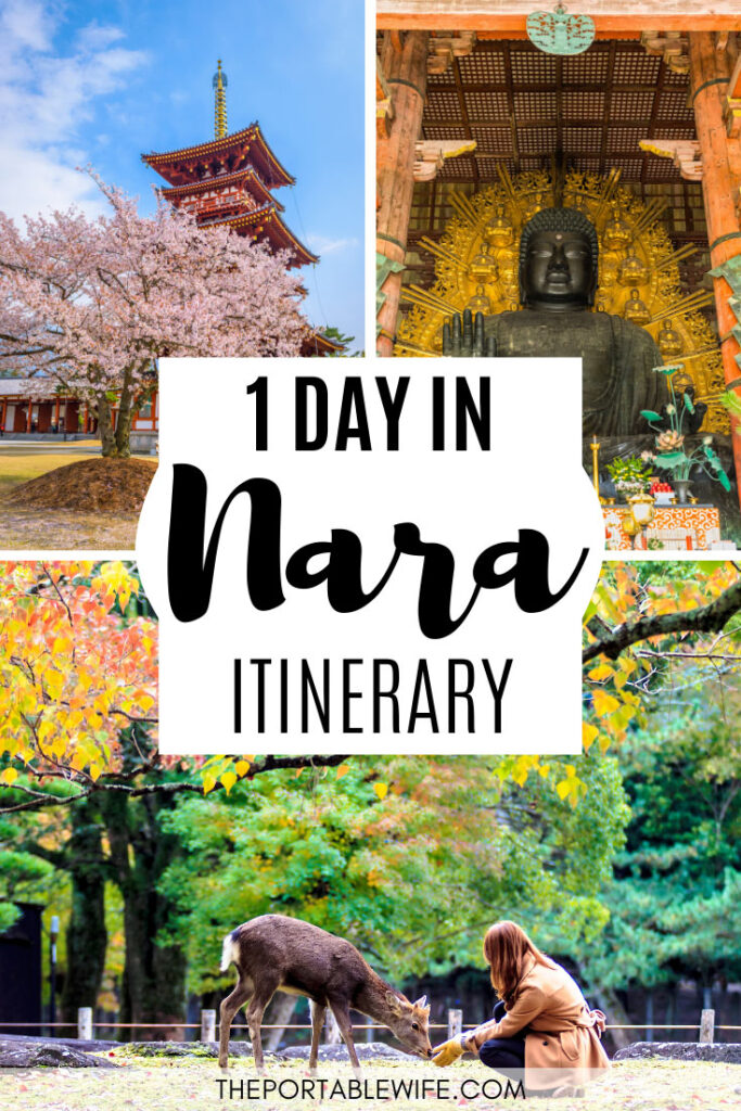 One Day in Nara Itinerary - Collage of red pagoda, giant Buddha statue, and girl feeding Nara deer
