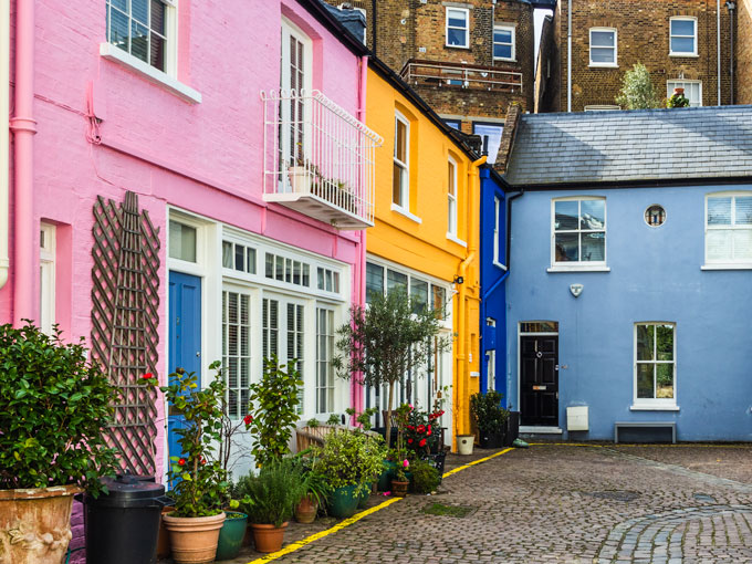 Colorful Notting Hill mews houses in London
