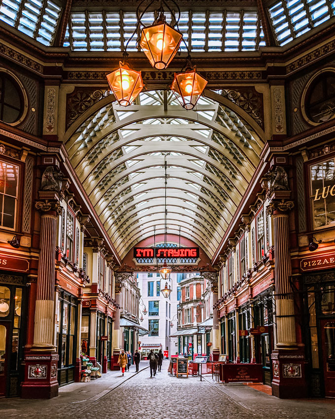 Interior of Leadenhall Market with glass arched ceiling and lantern