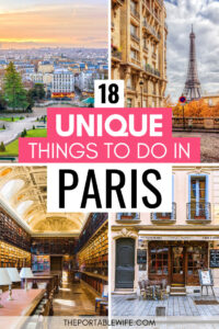 18 unique things to do in Paris - collage of Montmartre, Eiffel Tower, library, and cafe