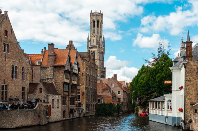 Bruges canal view of old market and belfry