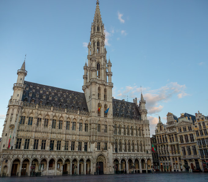 Brussels town hall with blue sky