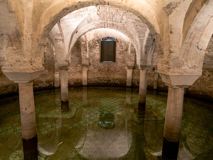 Water filled crypt with mosaic floor in Basilica di San Francesco Ravenna