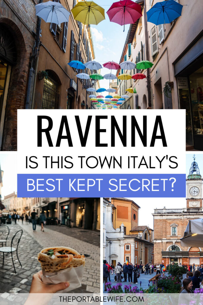 Ravenna: Is this town Italy's best kept secret? - collage of umbrellas, sandwich, and town square