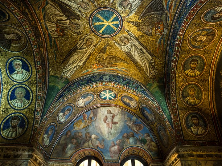 Gold and blue mosaic tile ceiling with angels in St. Andrew's Chapel Ravenna