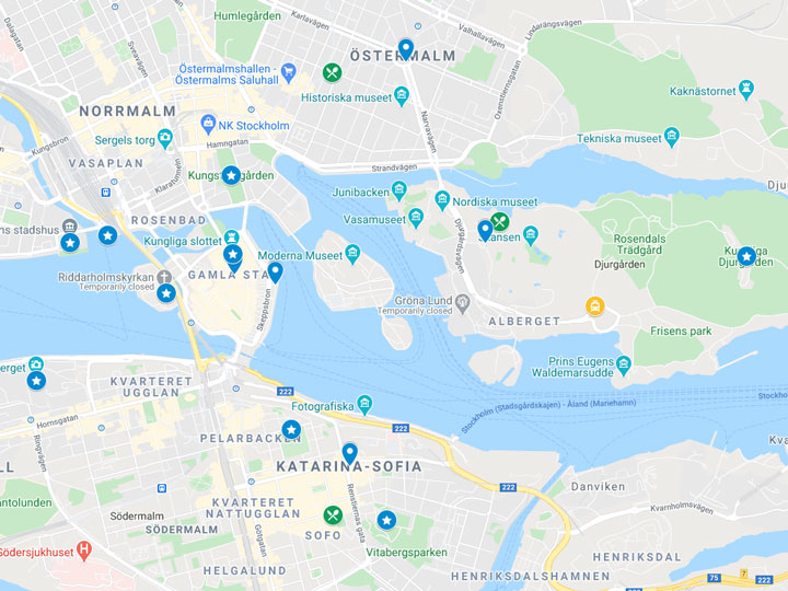 Google Maps snapshot of one day in Stockholm itinerary map