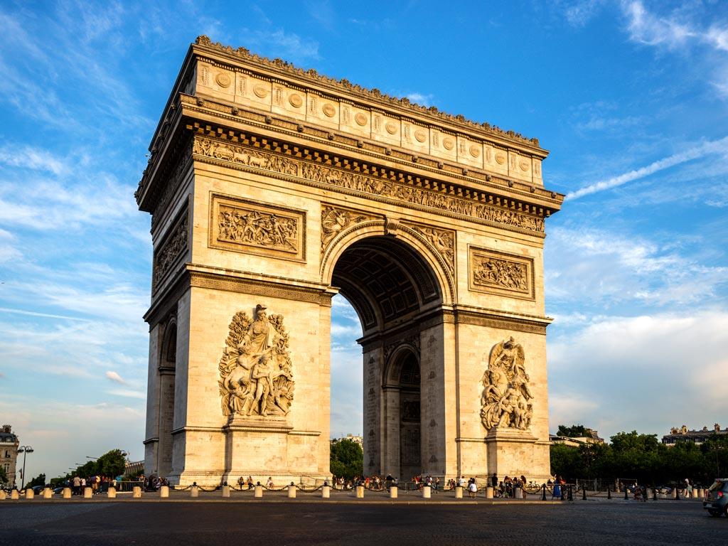 Paris Arc de Triomphe against blue sky
