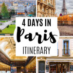 4 Days in Paris Itinerary - collage of Montmartre, Eiffel Tower, library, and cafe