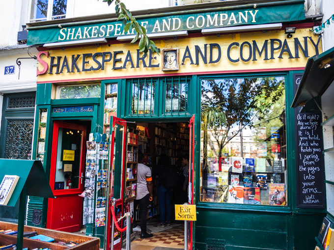 Exterior of Shakespeare and Company bookstore, a popular place to visit with 4 days in Paris