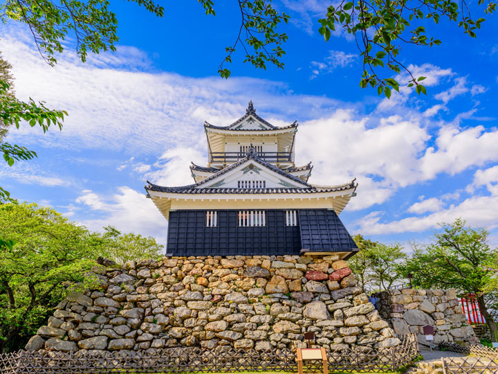 Hamamatsu castle view from below against partly cloudy sky