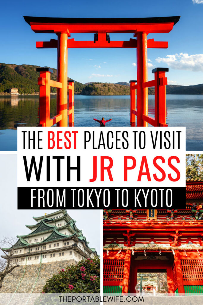 The Best Places to Visit With JR Pass From Tokyo to Kyoto - collage of torii gate, Nagoya castle, and red shrine gate