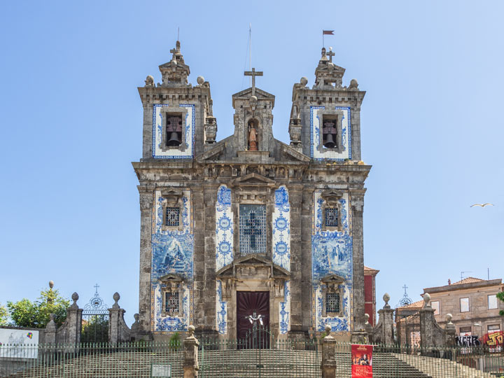 Porto Church of Saint Il Defonso view from front with azulejo tiles