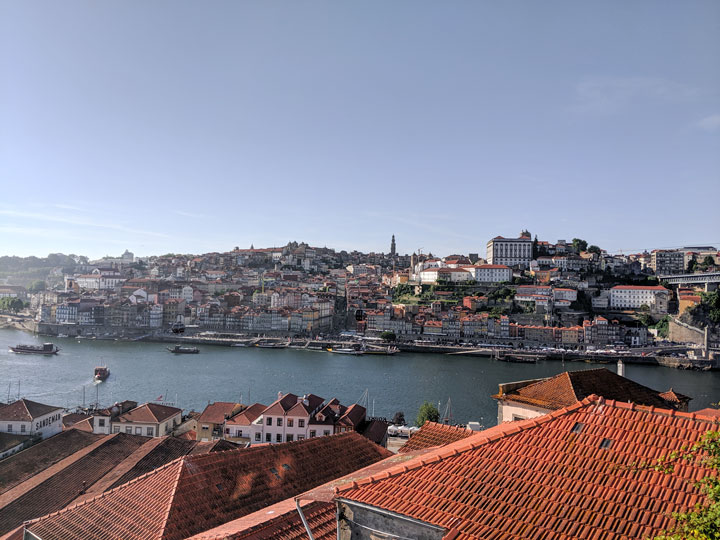 Sunset view of Porto riverfront from Jardim do Morro