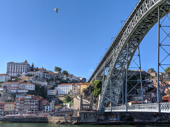 View of Pont Luis I Bridge and riverfront, a must see during 2 days in Porto
